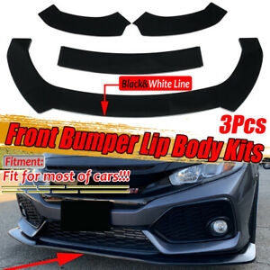 Front Bumper Lip Spoiler Splitter Diffuser Gloss Black For Honda Civic 2012 2020