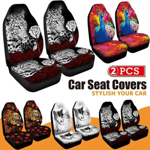 2pc Set 3d Peacock Print Front Truck Car Seat Cover Universal Car Seat Protector
