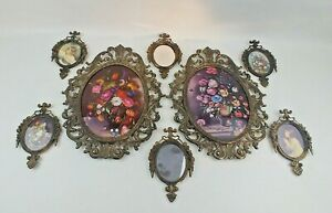 Vintage Ornate Lot Of 8 Brass Italy Frames Pictures Mirror Oval Wall Convex Flat