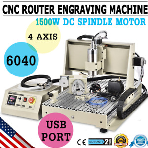 Usb 4 Axis 1 5kw Vfd Cnc 6040 Router Engraver Drill Mill Carving Cutter Machine