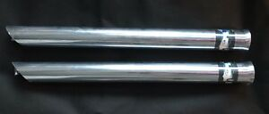 2 Chrome Pencil Flared Slant Cut Exhaust Tip Extension 2 Inlet X 24 Length