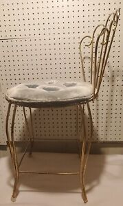 Vintage 1950 S Gold Metal Wire Vanity Chair With Green Cashion