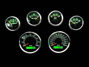 6 Gauge Set W senders speedo tacho oil temp fuel volt Bwgreen