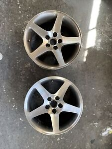 Pair Of Ford Mustang Cobra Wheels Grey Machined 2r3v 1007 Oem