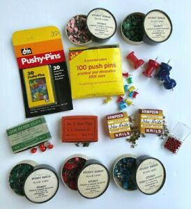 Vintage Push Pins And Furniture Nails Huge Lot With Many Colors Styles