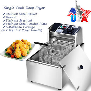 6 3qt 2500w 6l Electric Deep Fryer Tank Commercial home Stainless Steel New