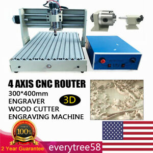 4 Axis 3040 Cnc Router Engraver Engraving Machine 400w Db25 Parallel Interface