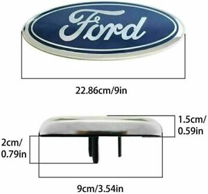1 Pcs Ford Emblem 9 Inch Oval Blue Chrome For Front Grille Rear Tailgate Logo