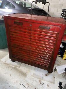 Vintage Snap On Toolbox Tool Box Cabinet Chest K 300 Rolla Bench 1940 S Snap On