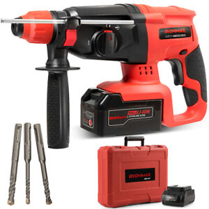 20v Cordless Lithium ion Sds Plus Rotary Hammer Drill 3 Mode W drill Bits Case