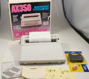 Brother Ax 350 Portable Electric Typewriter Daisy Wheel W Cover Manual Box Ex