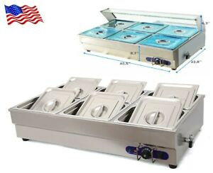Stainless Steel 6 well Commercial Bain marie Buffet Food Warmer 110v 2200w New