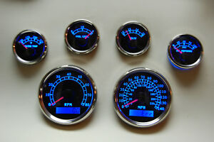 6 Gauge Set W o Senders speedo tacho oil temp fuel volt Bwb