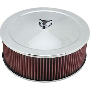Chrome Air Cleaner With Washable Filter 14 X 5 Inch