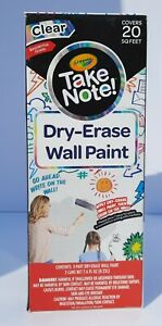 Crayola Take Note Dry erase Wall Paint 20 Sq Ft Clear Residential Grade New
