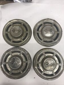 Lot 4 Chevrolet Chevy Vintage Chrome 10 1 2 Poverty Dog Dish Hubcap Wheel Cover