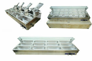 Quality 12 well Stainless Steel Commercial Buffet Food Warmer With Glass 110v