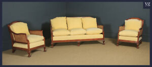 Antique George V Chippendale Style Three Piece Mahogany Cane Bergere Sofa Suite