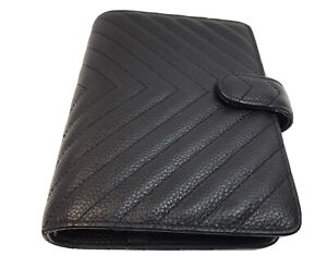 Cloth And Paper Quilted 6 Ring Agenda Personal Black Leather Chevron W Dust Bag