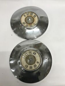 55 56 Ford Dog Dish Hub Caps 10 1 2 Set Of 2 Hubcaps 1955 1956 Vintage Art