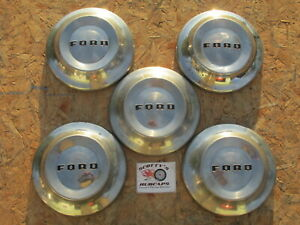 1952 54 Ford Customline Mainline poverty Dog Dish Hubcaps Lot Of 5