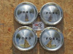 1960 63 Ford Falcon Econoline Ranchero Poverty Dog Dish Hubcaps Set Of 4