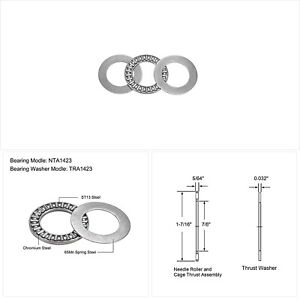 Uxcell Nta1423 Thrust Needle Roller Bearings With Washers 7 8 Bore 1 7 16 Od 5