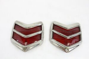 Vintage 1940 Ford Tail Lights Car Truck Red Glass Lens Chrome Part Pair M86