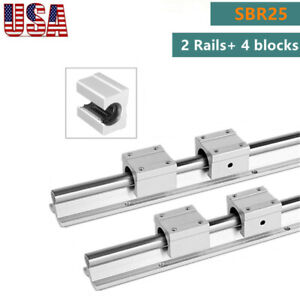 Sbr25 Linear Slide Rail Guide Shaft Rod 400 1500mm 4pcs Sbr25 Bearing Block Cnc