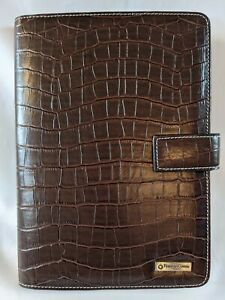 Franklin Covey Planner Agenda Notebook Compass Classic Faux Alligator Brown New
