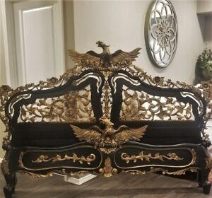 3 Pc Vintage Heavily Carved King Headboard Footboard Bed Mirror Eagle Pediment