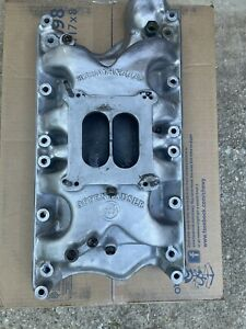 Rare 360 Equa flow Hi rise Holley Flange Offenhauser Offy Intake Ford 351w