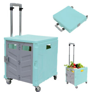 Foldable Utility Cart 4 Wheeled Rolling Crate Collapsible 360 Swivel Wheels