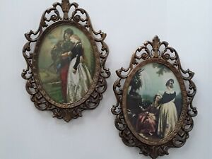 Two Vintage Fancy Brass Framed Romantic Pictures Made In Italy