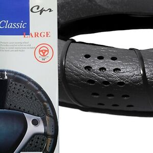 Classic Grip Synthetic Leather Diy Wrap Steering Wheel Cover Tie Black Large