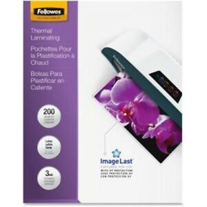 Fellowes Imagelast Laminating Pouches With Uv Protection 3 Mil 9 X 11 5 Clear