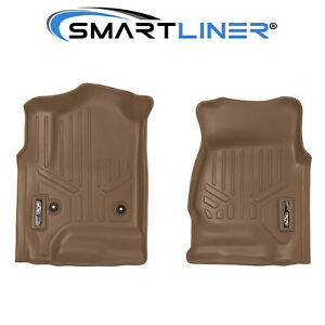 Smartliner All Weather Floor Mats For Chevy gmc Trucks Suv Front Set Tan