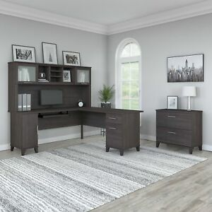 Bush Furniture Somerset 72w L Shaped Desk With Hutch And Lateral File Cabinet In
