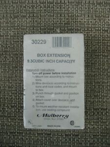 Mulberry 30229 Outdoor Weatherproof Box Extension Adapter 1 Gang Die Cast