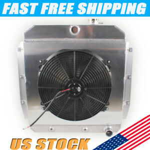 3rows Radiator Shroud 16 Fan For 1955 1959 56 57 1958 Chevy Pickup Truck At Mt