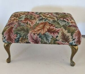 Vintage French Provincial Floral Footed Ottoman Foot Stool Tapestry