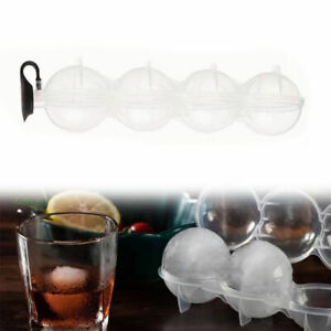 4 Cavity Round Ice Cube Ball Maker Cocktails Whiskey Ice Sphere Mould Party Bar