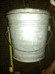 Vintage Galvanized Metal Bucket Pail W Handle And Lid Made In Usa