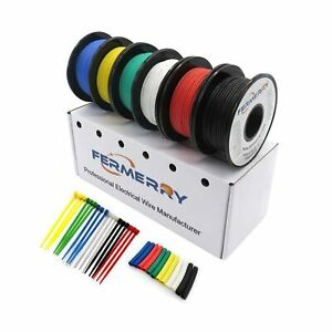 Fermerry 28awg Silicone Stranded Wire Hook Up Wire Kit 28 Gauge Electronic Ti