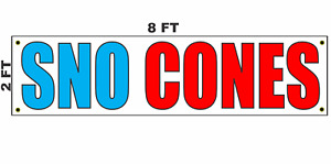 Sno Cones Banner Sign 2x8 For Business Shop Building Store Front Trailer Cart