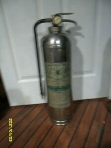 Vintage Elkhart Brass Mgf Stainless Steel Water Stream Fire Extinguisher Empty