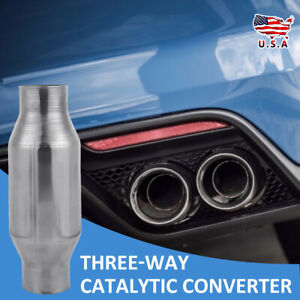 2 5 Inch Universal Catalytic Converter High Flow Racing Stainless Steel Round