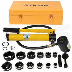 Hydraulic Knockout Punch Stainless Steel Hole Opener Kit With 6 Dies Punches