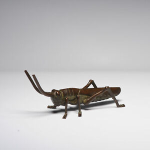 Antique Mini Okimono Bronze Japanese Statue Of A Cricket Meiji Japan Marked