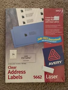 Avery Laser Labels Address 1 1 3 x4 5662 Clear 700 Labels New Sealed